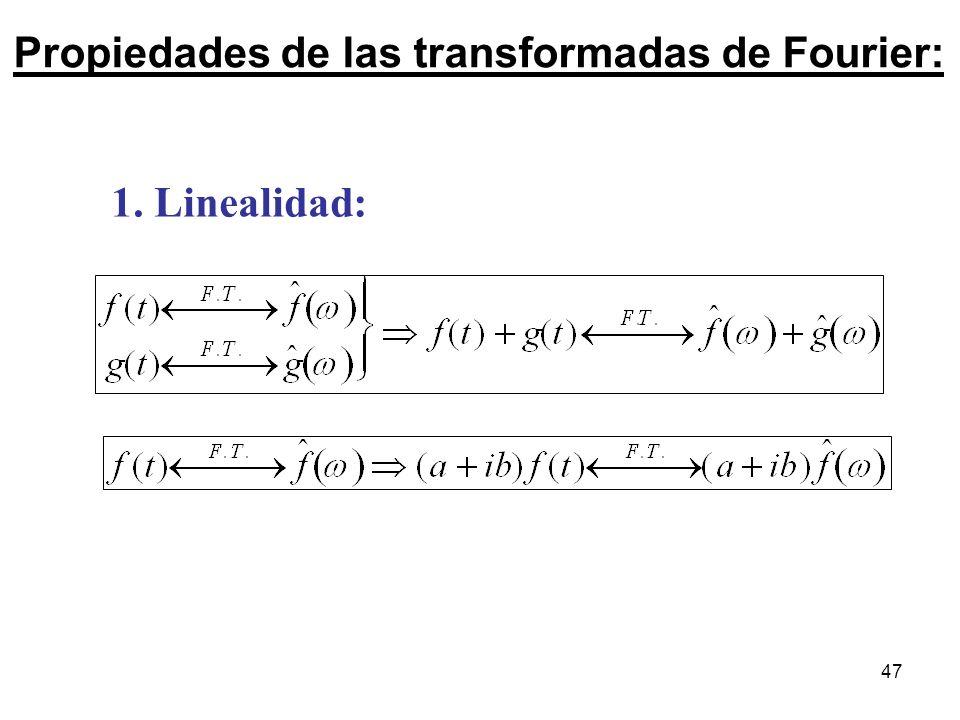 Propiedades de las transformadas de Fourier: 1. Linealidad: 47