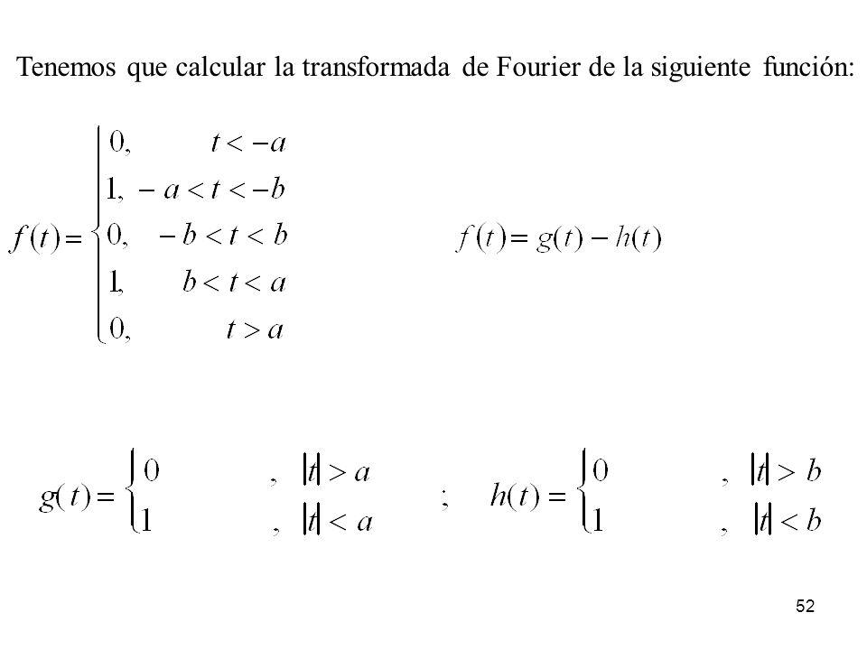 Tenemos que calcular la transformada de Fourier de la siguiente función: 52