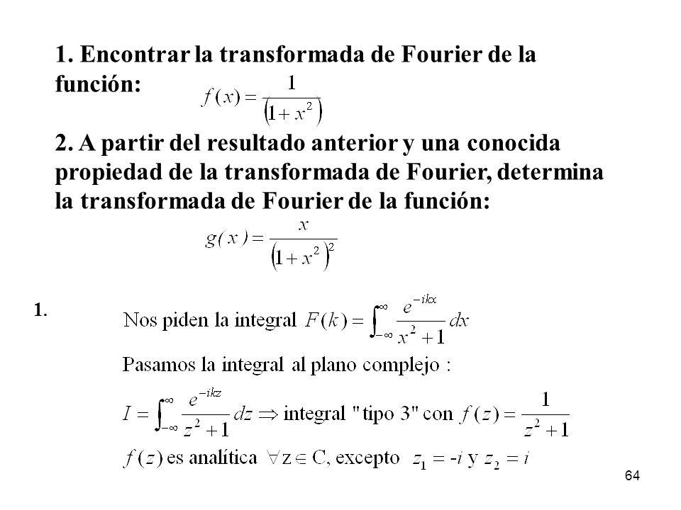 1. Encontrar la transformada de Fourier de la función: 2. A partir del resultado anterior y una conocida propiedad de la transformada de Fourier, dete