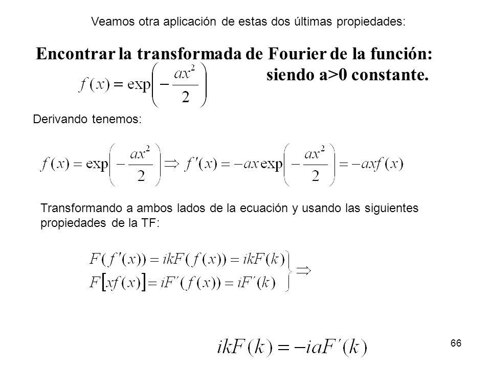 Encontrar la transformada de Fourier de la función: siendo a>0 constante. Derivando tenemos: Transformando a ambos lados de la ecuación y usando las s