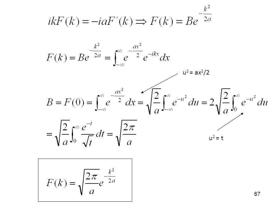u 2 = ax 2 /2 u 2 = t 67