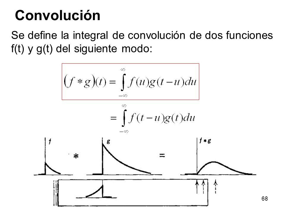 Convolución Se define la integral de convolución de dos funciones f(t) y g(t) del siguiente modo: 68
