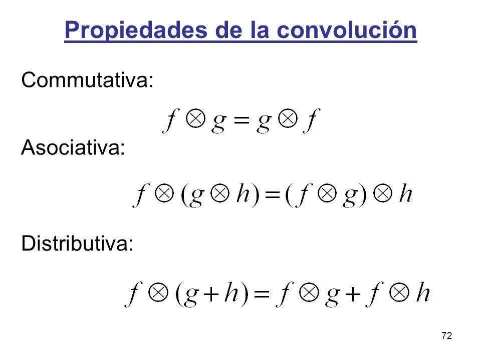 Propiedades de la convolución Commutativa: Asociativa: Distributiva: 72