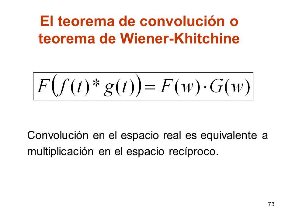 El teorema de convolución o teorema de Wiener-Khitchine Convolución en el espacio real es equivalente a multiplicación en el espacio recíproco. 73