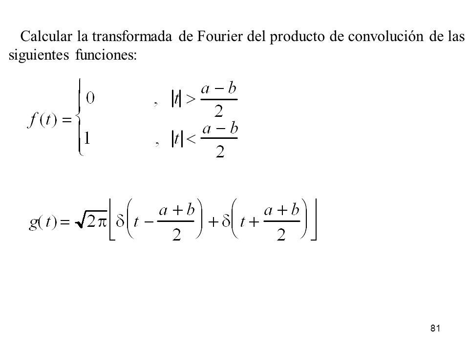 Calcular la transformada de Fourier del producto de convolución de las siguientes funciones: 81