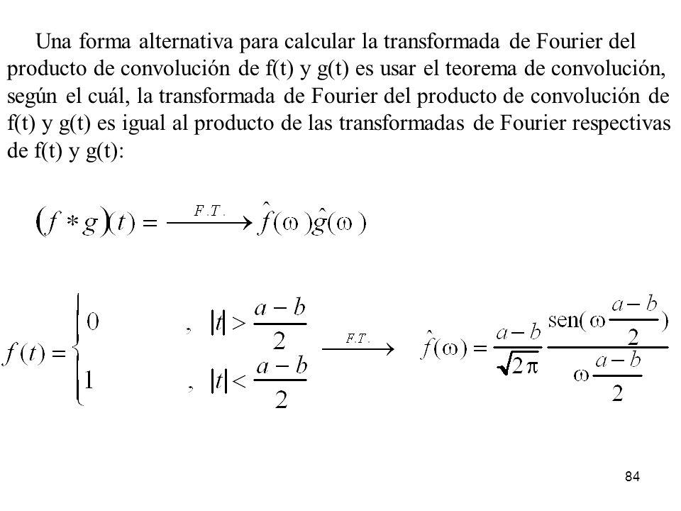 Una forma alternativa para calcular la transformada de Fourier del producto de convolución de f(t) y g(t) es usar el teorema de convolución, según el