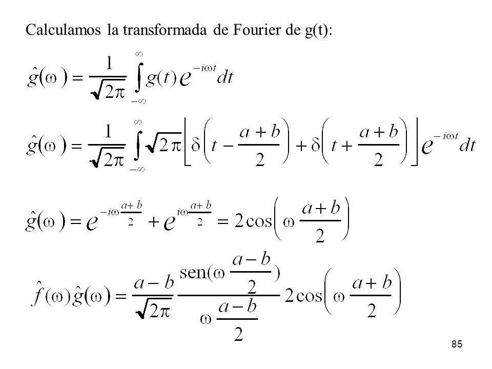 Calculamos la transformada de Fourier de g(t): 85