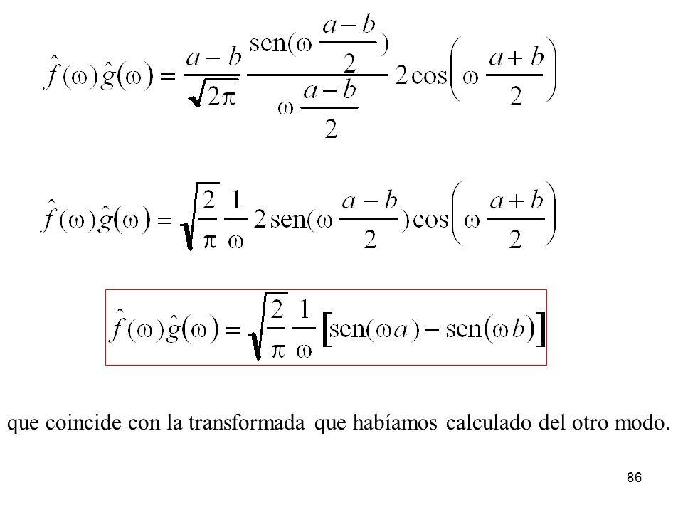 que coincide con la transformada que habíamos calculado del otro modo. 86