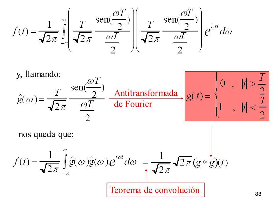 y, llamando: nos queda que: Teorema de convolución Antitransformada de Fourier 88
