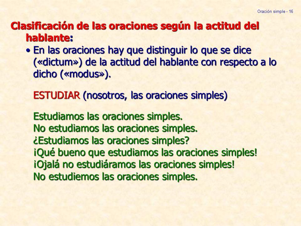 Clasificación de las oraciones según la actitud del hablante:En las oraciones hay que distinguir lo que se dice («dictum») de la actitud del hablante