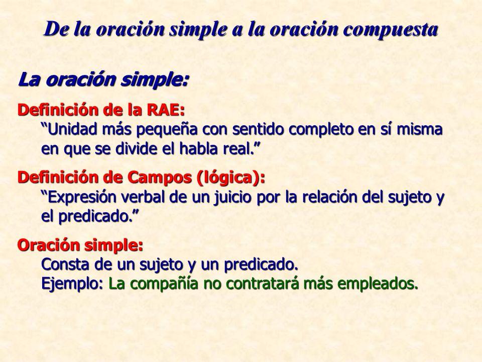 De la oración simple a la oración compuesta La oración simple: Definición de la RAE: Unidad más pequeña con sentido completo en sí misma en que se div