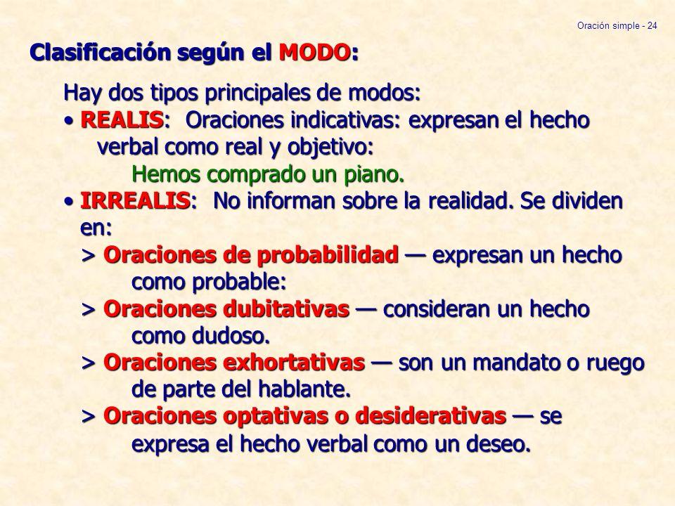 Clasificación según el MODO: Hay dos tipos principales de modos:REALIS: Oraciones indicativas: expresan el hecho verbal como real y objetivo: Hemos co