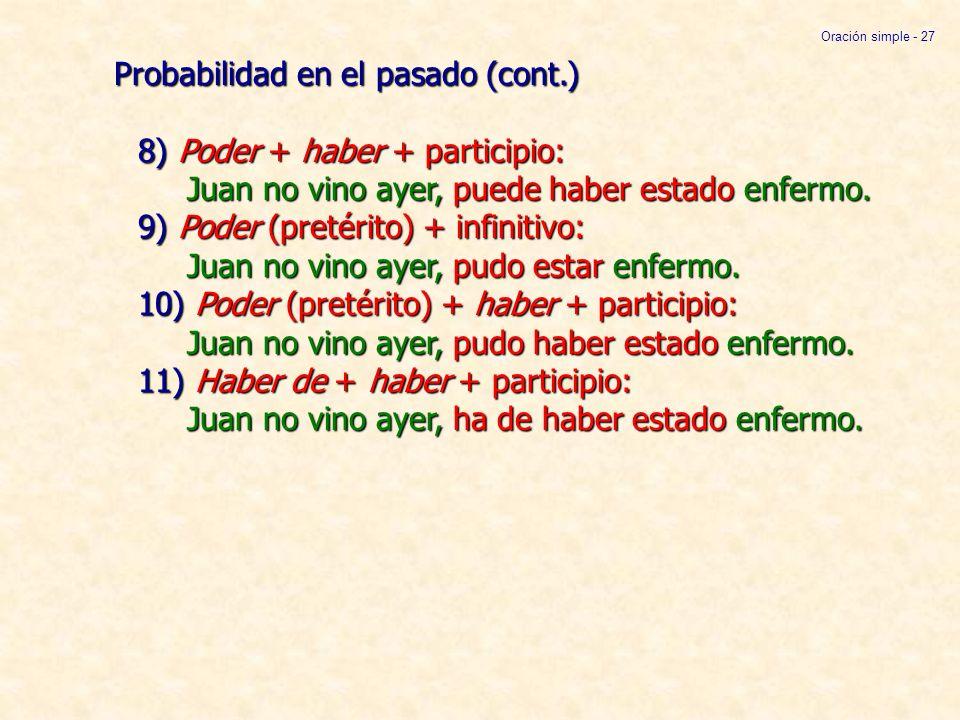 Oración simple - 27 Probabilidad en el pasado (cont.) 8) Poder + haber + participio: Juan no vino ayer, puede haber estado enfermo. 9) Poder (pretérit