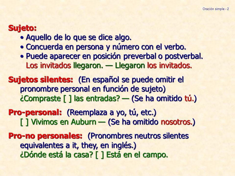 Sujeto:Aquello de lo que se dice algo.Concuerda en persona y número con el verbo.Puede aparecer en posición preverbal o postverbal. Los invitados lleg