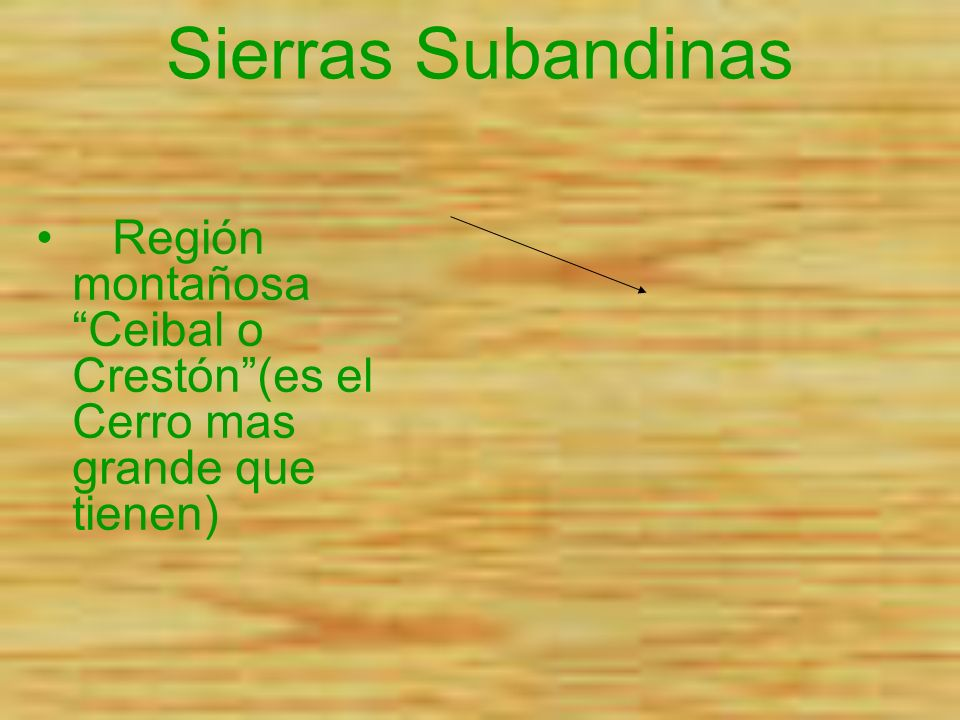 Sierras Subandinas Región montañosa Ceibal o Crestón(es el Cerro mas grande que tienen).