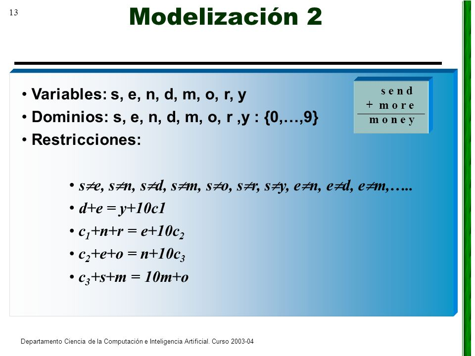 13 Departamento Ciencia de la Computación e Inteligencia Artificial. Curso 2003-04 Variables: s, e, n, d, m, o, r, y Dominios: s, e, n, d, m, o, r,y :