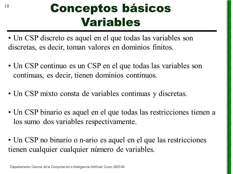 18 Departamento Ciencia de la Computación e Inteligencia Artificial. Curso 2003-04 Un CSP discreto es aquel en el que todas las variables son discreta