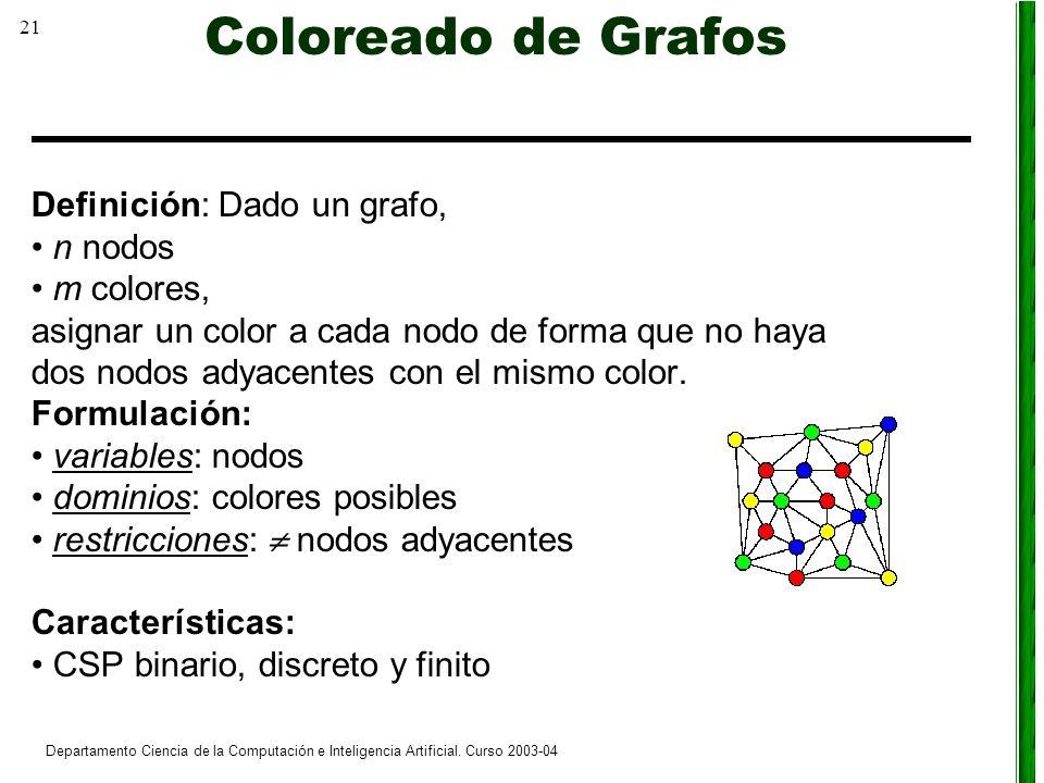 21 Departamento Ciencia de la Computación e Inteligencia Artificial. Curso 2003-04 Coloreado de Grafos Definición: Dado un grafo, n nodos m colores, a