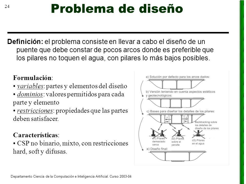 24 Departamento Ciencia de la Computación e Inteligencia Artificial. Curso 2003-04 Problema de diseño Definición: el problema consiste en llevar a cab