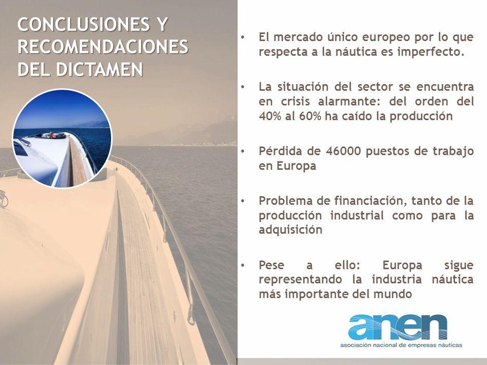 CONCLUSIONES Y RECOMENDACIONES DEL DICTAMEN El mercado único europeo por lo que respecta a la náutica es imperfecto. La situación del sector se encuen