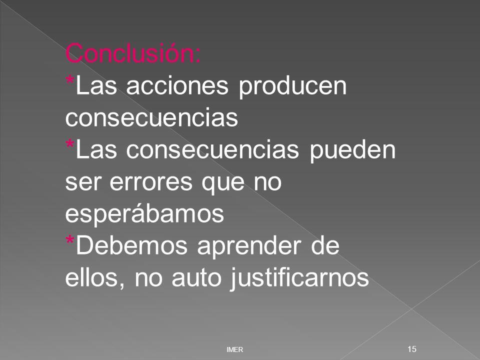 IMER 15 Conclusión: *Las acciones producen consecuencias *Las consecuencias pueden ser errores que no esperábamos *Debemos aprender de ellos, no auto