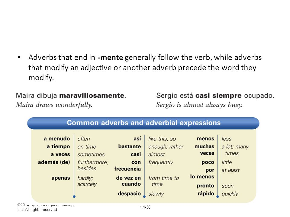 ©2014 by Vista Higher Learning, Inc. All rights reserved. 1.4-36 Adverbs that end in -mente generally follow the verb, while adverbs that modify an ad