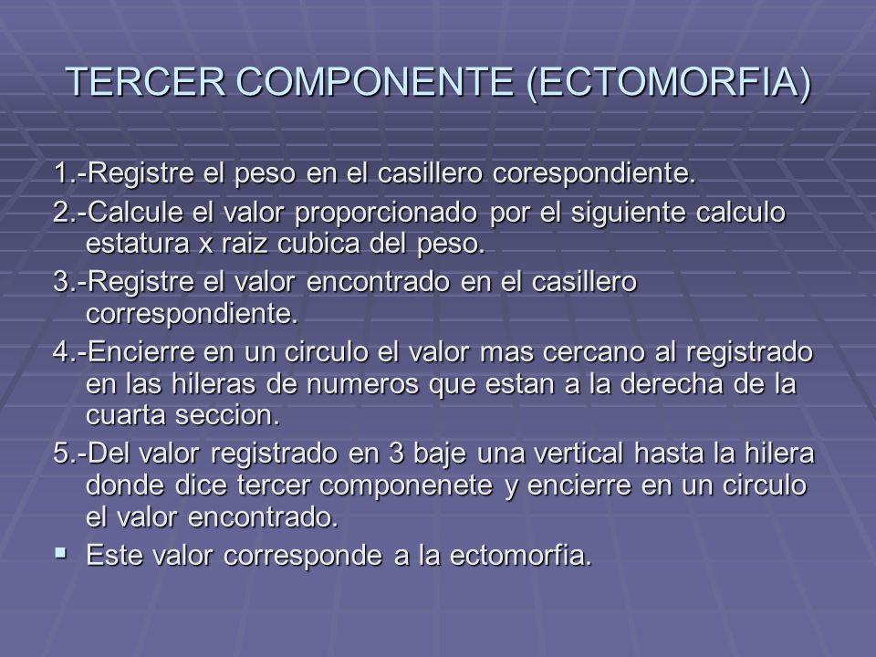 TERCER COMPONENTE (ECTOMORFIA) 1.-Registre el peso en el casillero corespondiente. 2.-Calcule el valor proporcionado por el siguiente calculo estatura