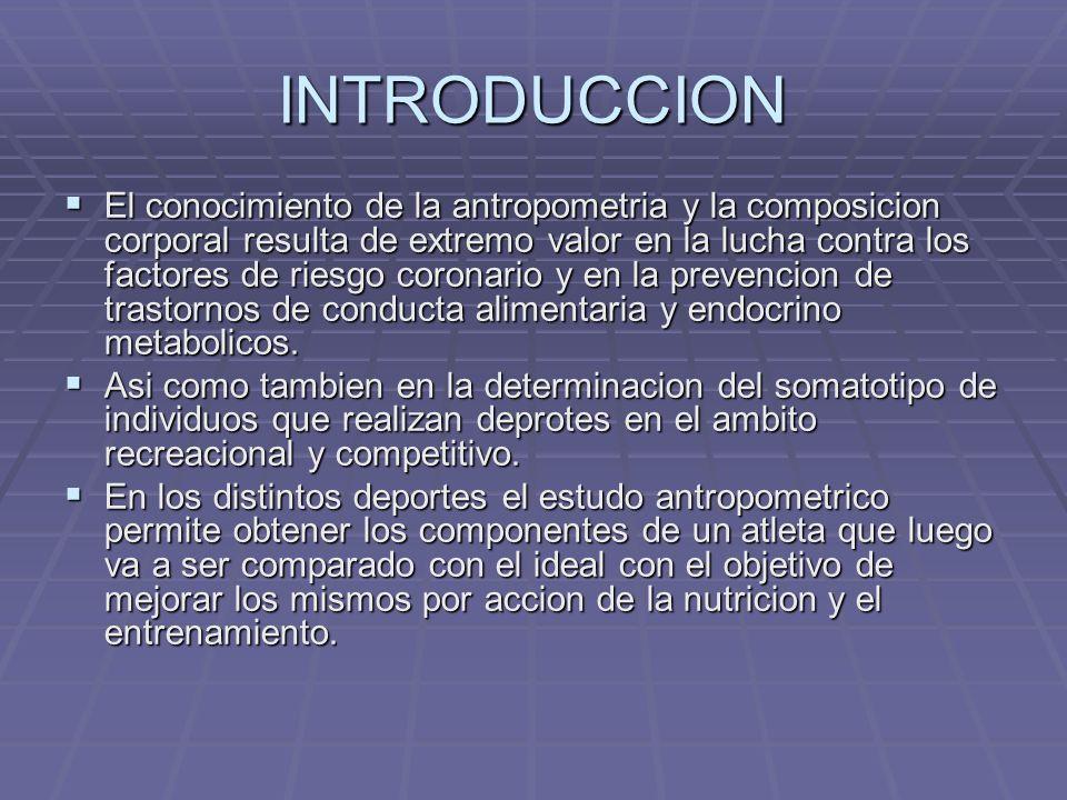 INTRODUCCION El conocimiento de la antropometria y la composicion corporal resulta de extremo valor en la lucha contra los factores de riesgo coronari