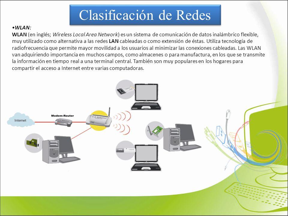 Clasificación de Redes WLAN: WLAN (en inglés; Wireless Local Area Network) es un sistema de comunicación de datos inalámbrico flexible, muy utilizado