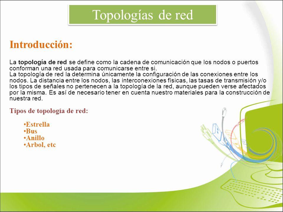 Introducción: La topología de red se define como la cadena de comunicación que los nodos o puertos conforman una red usada para comunicarse entre si.