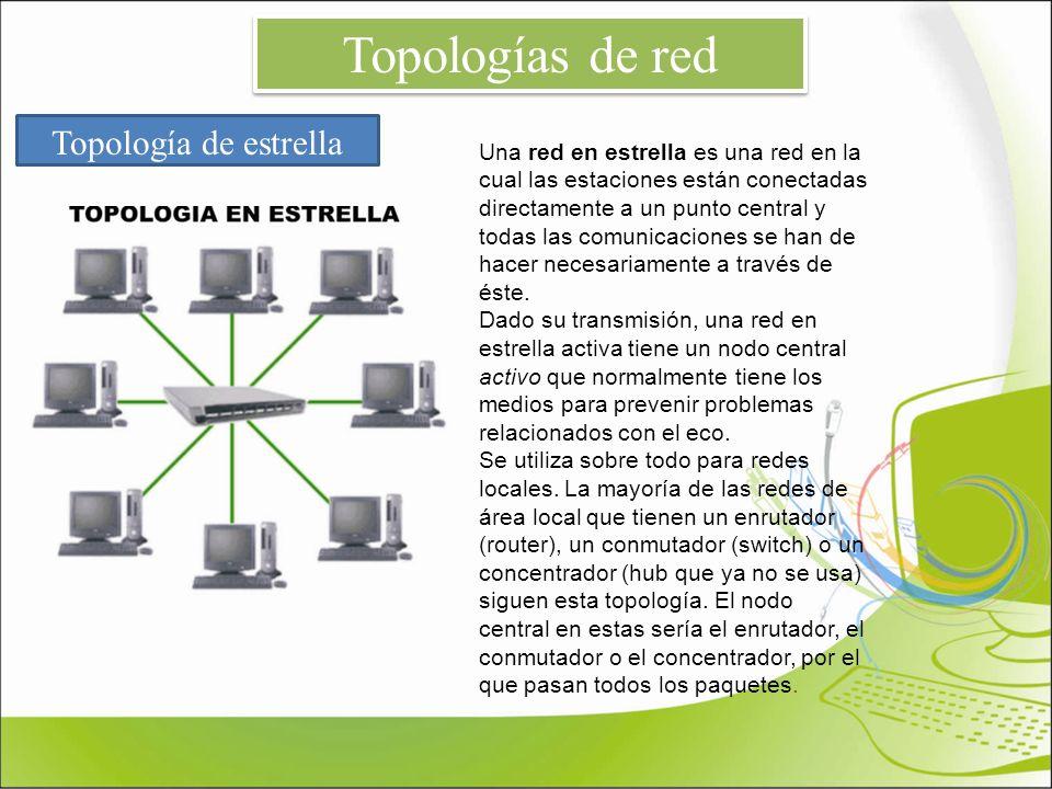Topología de estrella Una red en estrella es una red en la cual las estaciones están conectadas directamente a un punto central y todas las comunicaci