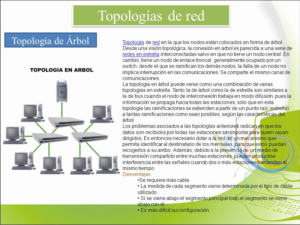 Topologías de red Topología de Árbol TopologíaTopología de red en la que los nodos están colocados en forma de árbol. Desde una visión topológica, la