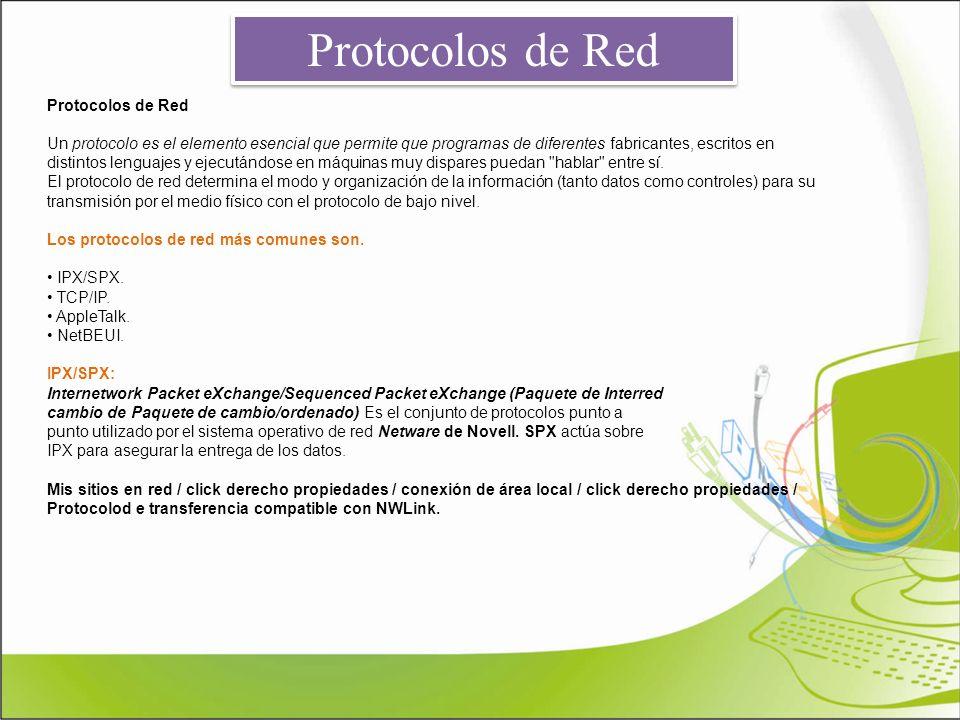 Protocolos de Red Un protocolo es el elemento esencial que permite que programas de diferentes fabricantes, escritos en distintos lenguajes y ejecután