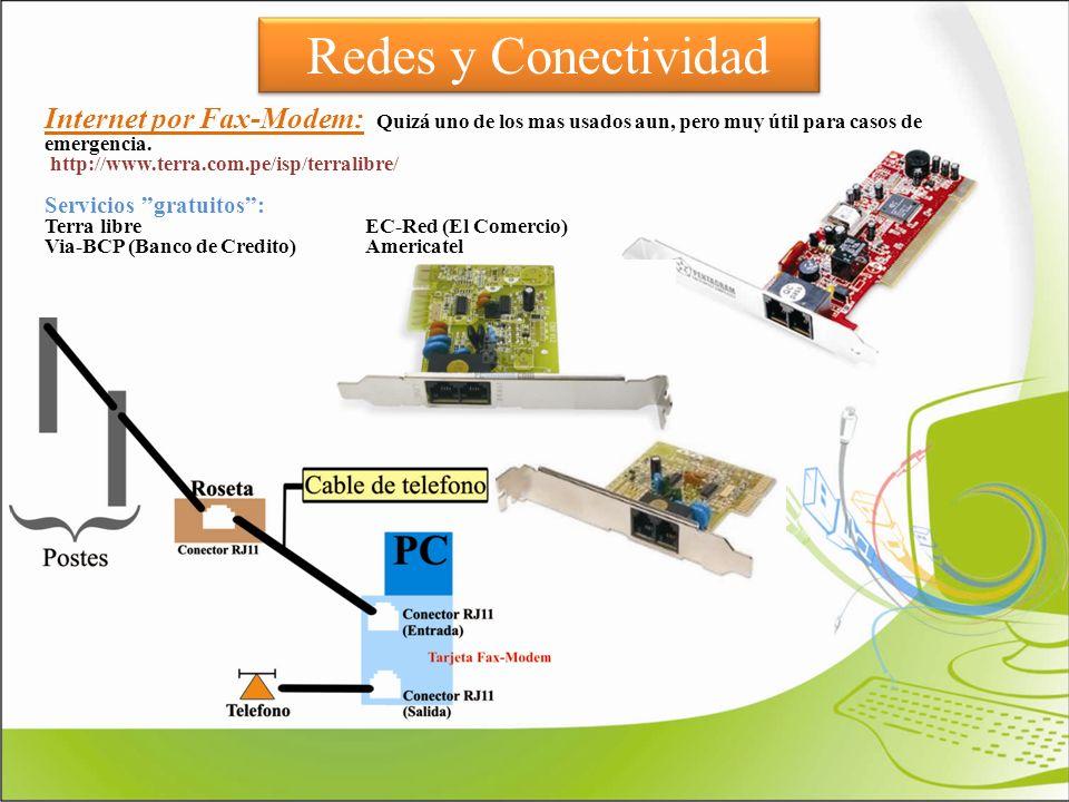 Redes y Conectividad Internet por Fax-Modem: Quizá uno de los mas usados aun, pero muy útil para casos de emergencia. http://www.terra.com.pe/isp/terr