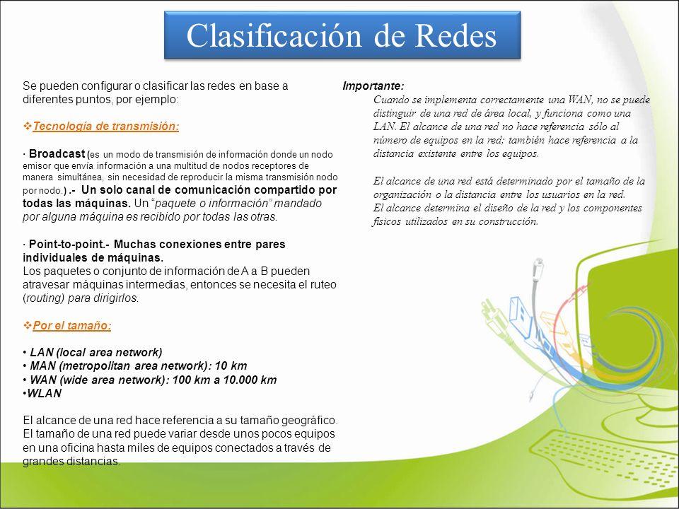 Clasificación de Redes Se pueden configurar o clasificar las redes en base a diferentes puntos, por ejemplo: Tecnología de transmisión: · Broadcast (e