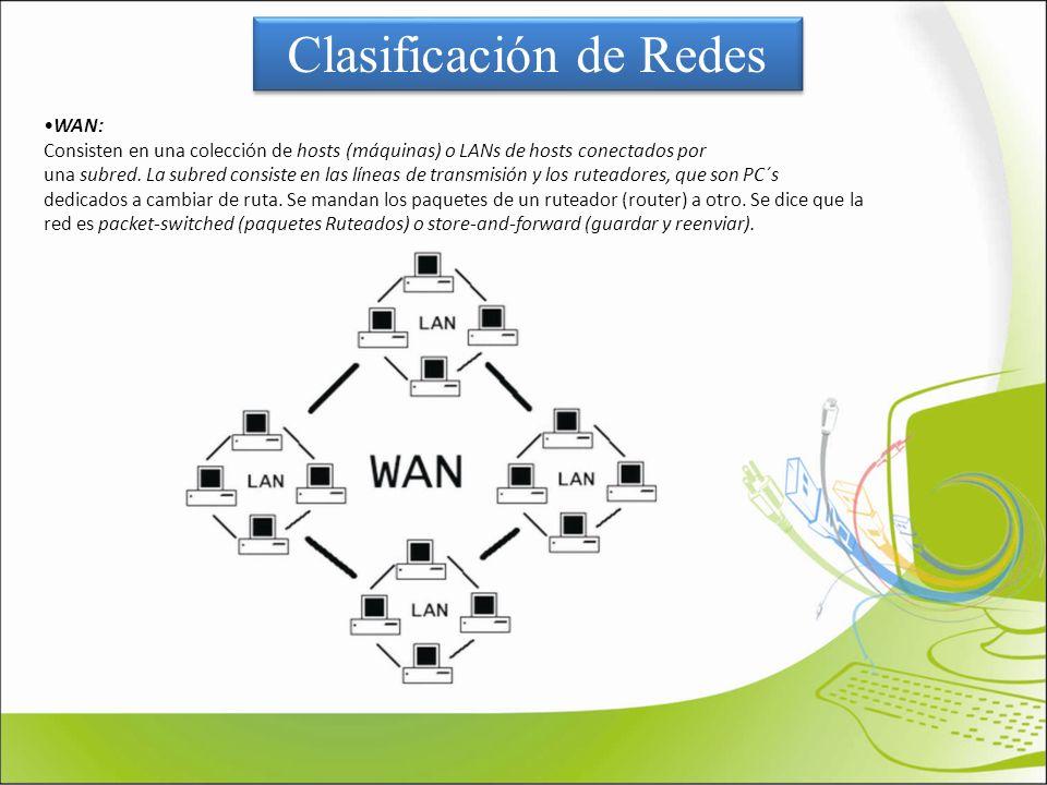 WAN: Consisten en una colección de hosts (máquinas) o LANs de hosts conectados por una subred. La subred consiste en las líneas de transmisión y los r