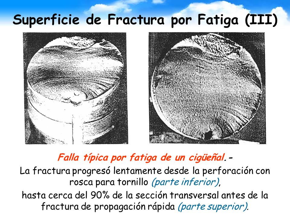 Superficie de Fractura por Fatiga (III) Falla típica por fatiga de un cigüeñal.- La fractura progresó lentamente desde la perforación con rosca para t