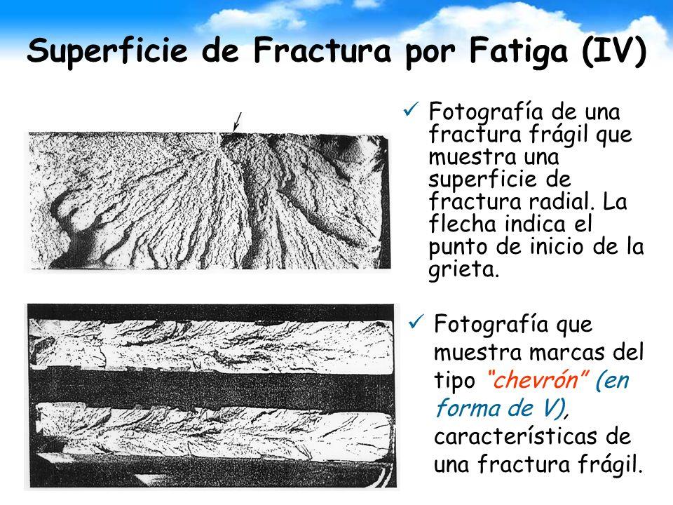 Superficie de Fractura por Fatiga (IV) Fotografía de una fractura frágil que muestra una superficie de fractura radial. La flecha indica el punto de i