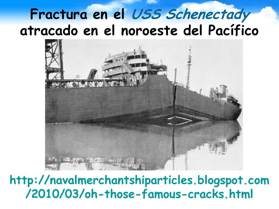 Fractura en el USS Schenectady atracado en el noroeste del Pacífico http://navalmerchantshiparticles.blogspot.com /2010/03/oh-those-famous-cracks.html