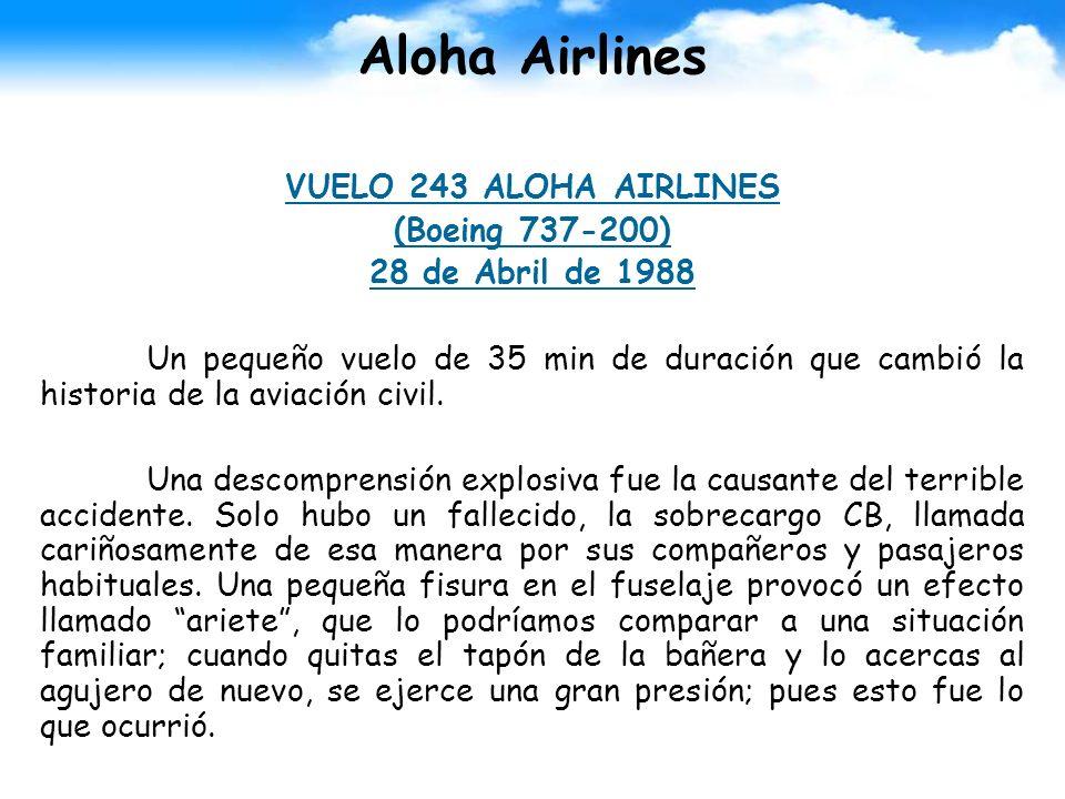 Aloha Airlines VUELO 243 ALOHA AIRLINES (Boeing 737-200) 28 de Abril de 1988 Un pequeño vuelo de 35 min de duración que cambió la historia de la aviac