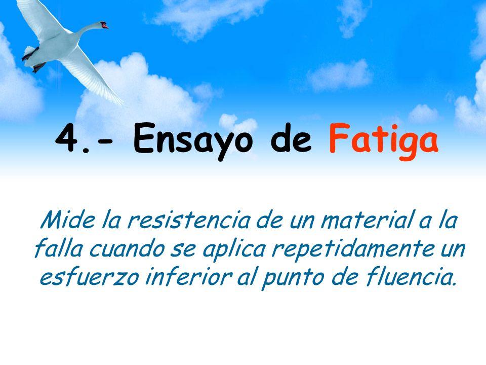 4.- Ensayo de Fatiga Mide la resistencia de un material a la falla cuando se aplica repetidamente un esfuerzo inferior al punto de fluencia.