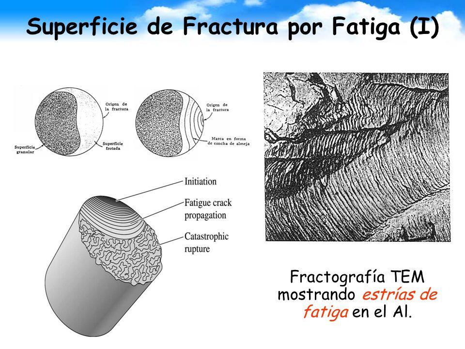 Superficie de Fractura por Fatiga (I) Fractografía TEM mostrando estrías de fatiga en el Al.