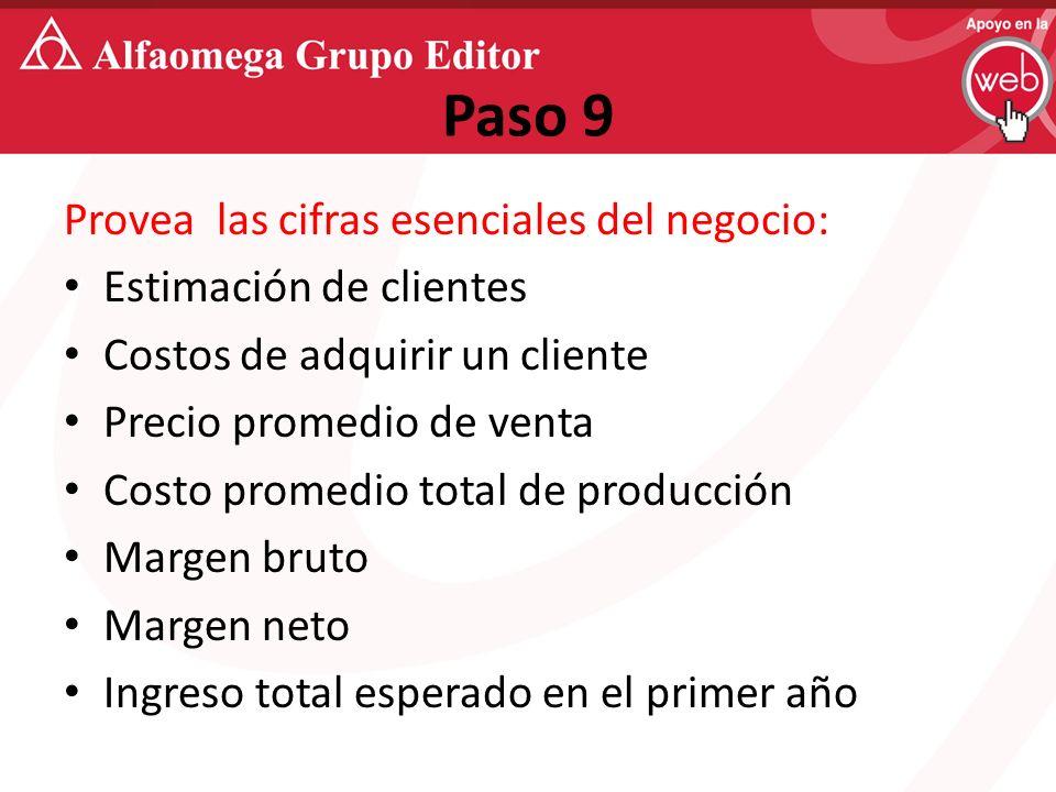 Paso 9 Provea las cifras esenciales del negocio: Estimación de clientes Costos de adquirir un cliente Precio promedio de venta Costo promedio total de