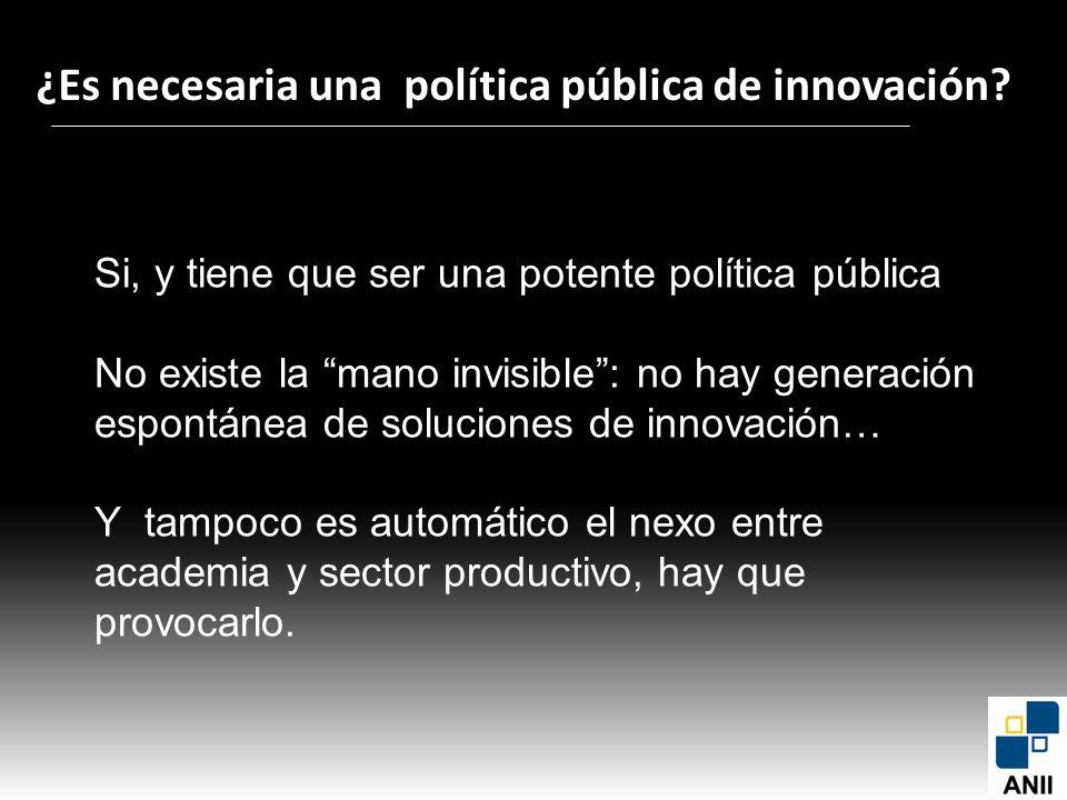¿Es necesaria una política pública de innovación? Si, y tiene que ser una potente política pública No existe la mano invisible: no hay generación espo