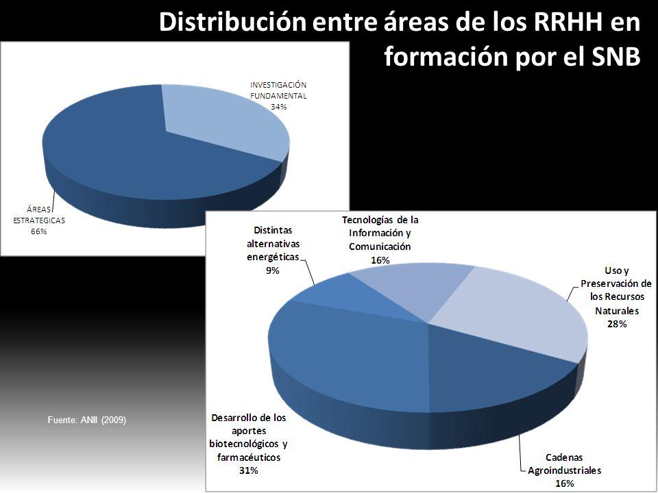 Distribución entre áreas de los RRHH en formación por el SNB Distribución entre áreas de los RRHH en formación por el SNB Fuente: ANII (2009)