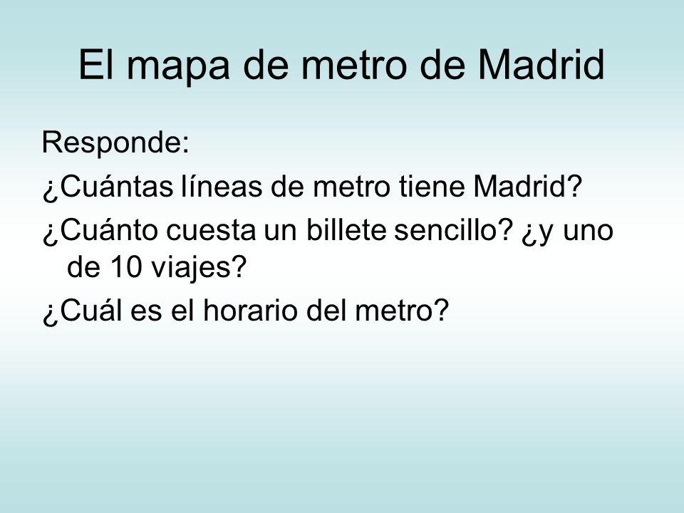 El mapa de metro de Madrid Responde: ¿Cuántas líneas de metro tiene Madrid? ¿Cuánto cuesta un billete sencillo? ¿y uno de 10 viajes? ¿Cuál es el horar