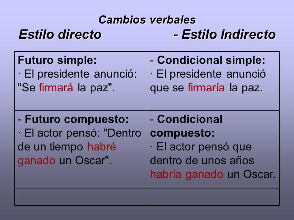 Cambios verbales Estilo directo - Estilo Indirecto Futuro simple: · El presidente anunció: