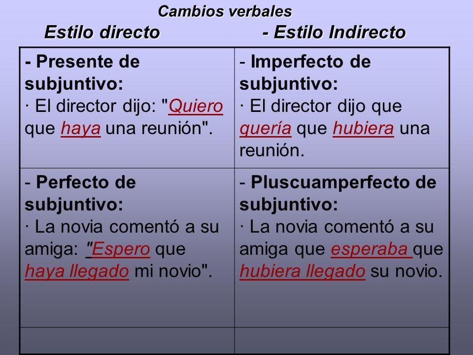 Cambios verbales Estilo directo - Estilo Indirecto - Presente de subjuntivo: · El director dijo: