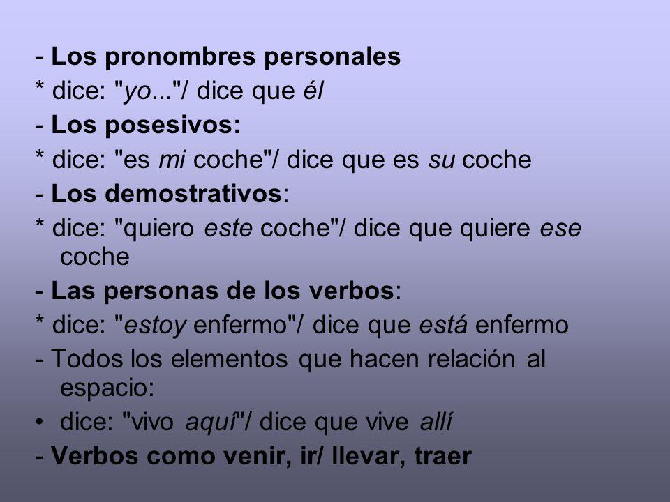 - Los pronombres personales * dice: