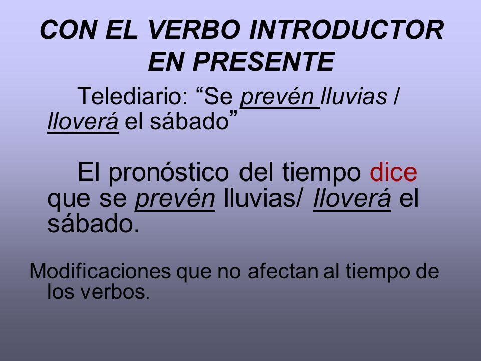 CON EL VERBO INTRODUCTOR EN PRESENTE Telediario: Se prevén lluvias / lloverá el sábado El pronóstico del tiempo dice que se prevén lluvias/ lloverá el